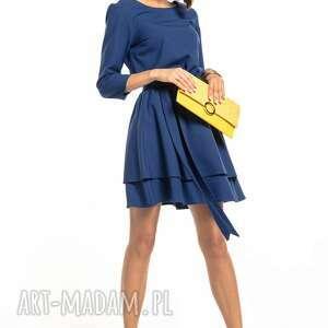 sukienki elegancka sukienka z podwójną spódnicą, t320, granatowa