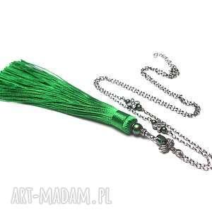 Chwościk /emerald/ vol. 2 - naszyjnik, srebro-oksydowane, chwost, boho, cyrkonia