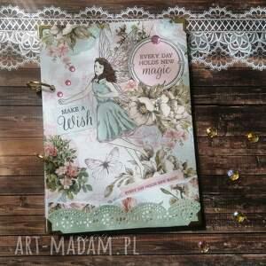 notes/ pamiętnik/ make a wish, dziewczyna, elfy, motyle, koraliki, życzenia
