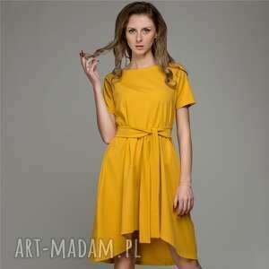 hand-made ubrania trapeze mustard | sukienka z dzianiny