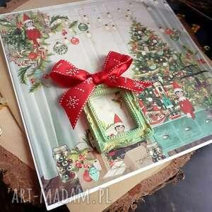wyjątkowy prezent, skrzaty #1, boże narodzenie, skrzaty, ramka, karta świąteczna