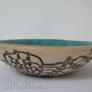 ceramika mała koronkowa miseczka, koronkowa, turkusowa, na biżuterię