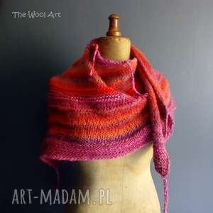 ciepła chusta, szal, na-drutach, wełniana, kolorowa
