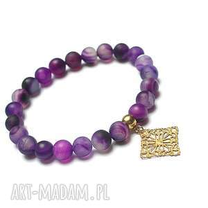 alloys collection -violet /2014/- bransoletka, agaty, stal, szlachetna, mosiądz