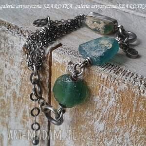 ręcznie wykonane na surowo bransoletka ze szkła antycznego i srebra
