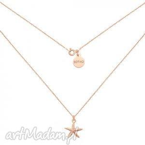 naszyjniki naszyjnik z różowego złota rozgwiazdą, modny, naszyjnik, zawieszka