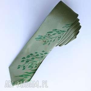 Prezent Krawat z nadrukiem - liście, krawat, zielony, nadruk, wąski, prezent