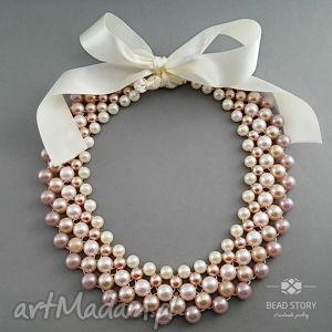 Wiki naszyjniki bead story kolia, naszyjnik, perły, satyna,