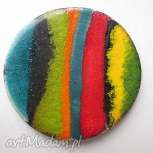 kolorowa broszka - ceramiczna, etniczna, etno, prezent