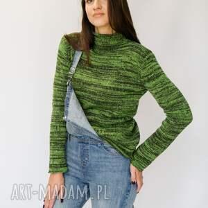 swetry półgolf zielony melanż, golf damski, damski sweter z wełny, wełniany