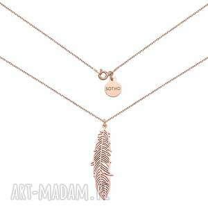 naszyjnik z różowego złota z piórem - łańcuszek