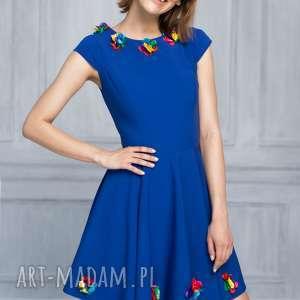 sukienka bg-kw kolor - chabrowy, rozkloszowana, mini, chabrowa, kwiatuszki, wesele