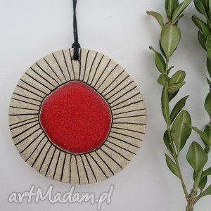 czerwony wisior ceramiczny, wisiorek, ceramika, duży, wisior, etniczny