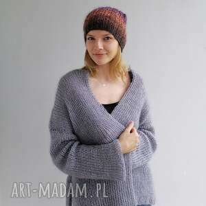 hand-made swetry kardigan gray kid mohair
