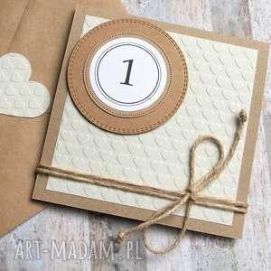 na ROCZEK :: urodzinowa kartka simple beige, roczek, urodziny,
