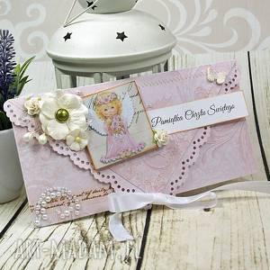 handmade scrapbooking kartki pamiątka chrztu św - dla dziewczynki