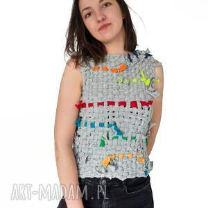 bluzki bluzka no 01, dres, szydełko, tkane, szary dresówka, unikat