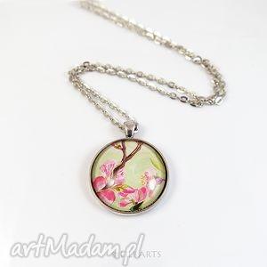 naszyjnik, medalion - kwitnąca wiśnia, medalion, kwiaty, japoński