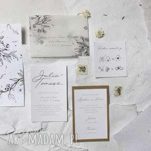 piękne zaproszenie ślubne - koperta z kalki, ślub