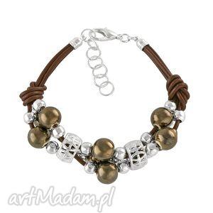 Grapes bracelet - chocolate., ceramika, rzemień