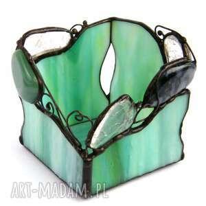 Witrazka. Świecznik zielony z kryształami