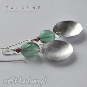 Fluo Duo, kolczyki, srebro, metal, fluoryt, swarovski