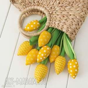 Tulipany żółty bawełniany bukiet dekoracje myk studio kwiaty