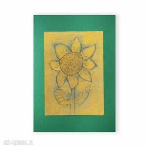 słonecznik obrazek, rysunek ze słonecznikiem, złoto zielony kwiat grafika, obrazek