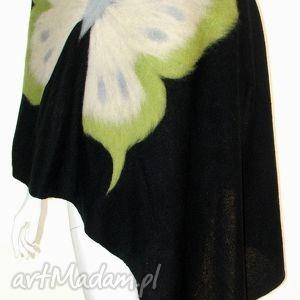 szal wełną zdobiony - prezent, wełna, filcowanie, urodziny, motyle