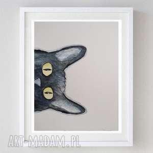 kotek -abstrakcja,akwarela formatu 21/28 cm, kot, kotek, abstrakcja, czarny