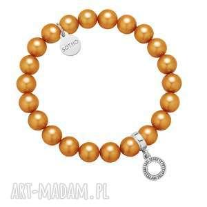 karmelowa bransoletka z pereł swarovski® crystal ze srebrną