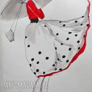 Praca akwarelą i piórkiem ELEGANTKA artystki plastyka Adriany Laube, rysunek, kobieta