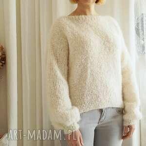 swetry lekki sweter ecru, sweter, wełniany, dziergany, lekki