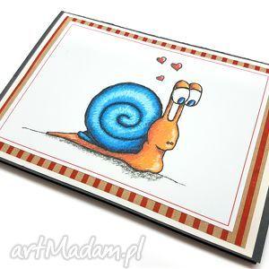 kartki kartka ze ślimakiem i serduszkami, kartka, walentynka, walentynki, ślimak