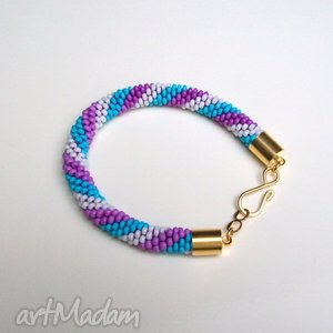 bransoletka koralikowa kadaro - pastele p8, bransoletka, crochet, pastele, złoto