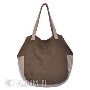 24-0020 Brązowa torebka damska worek / torba na studia SWALLOW, modne-torebki-worki