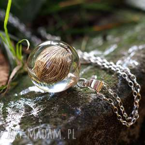 Prezent Naszyjnik roślinny Malaga, srebrny łańcuszek, żywica, srebro, natura, prezent