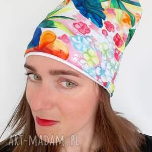 świąteczny prezent, czapka no 04, kolorowa czapka, egzotyczne kwiaty, palmy