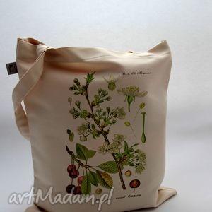 Prezent Torba Czereśnia - płócienna, bawełna, natura, roślina, owoc, prezent, płótno