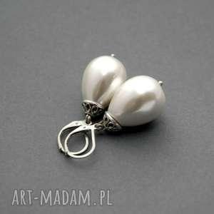 kolczyki z perłą seashell, eleganckie, wieczorowe, delikatne, wyjąciowe, ślubne