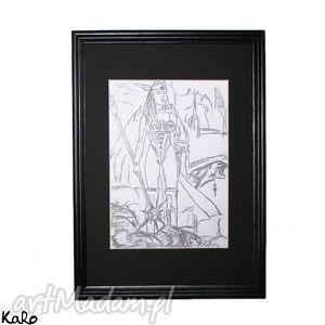 Rysunek wojowniczka jak gwiazda poranna ; karo s rysunek, węglem