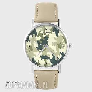 zegarki zegarek - moro skórzany, beżowy, zegarek, bransoletka, pasek
