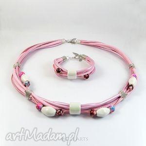 komplety komplet - różowy naszyjnik, bransoletka, ceramiczne, komplet, naszyjnik