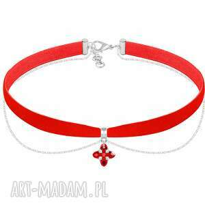 choker with chain - red velvet, choker, aksamitka, swarovski