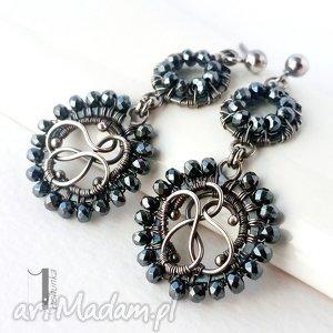 dantela - srebrne kolczyki z hematytami, srebro, 925, wirewrapping, hematyt