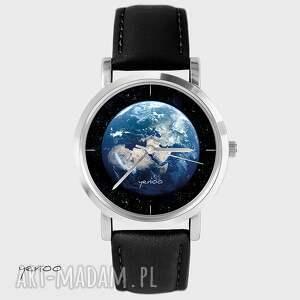 Prezent Zegarek, bransoletka - Ziemia czarny, skórzany, zegarek,