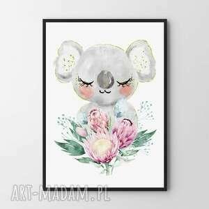 hogstudio plakat obraz słodka koala a4 - 21 0x29 7cm, pokój dziecka, różowy