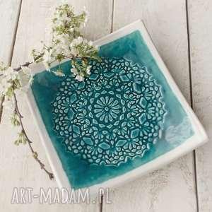 handmade ceramika patera koronkowa turkus i biel