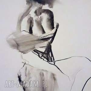 woman , duża-grafika, carno-białe, obraz-kobieta, żółta-grafika, żółty-obraz