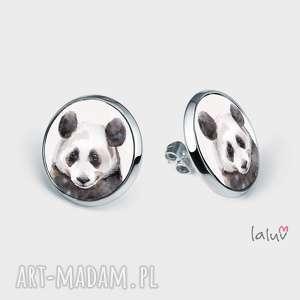 kolczyki sztyfty panda, prezent, bambus, zwierzak, czarno, biała, puszysta